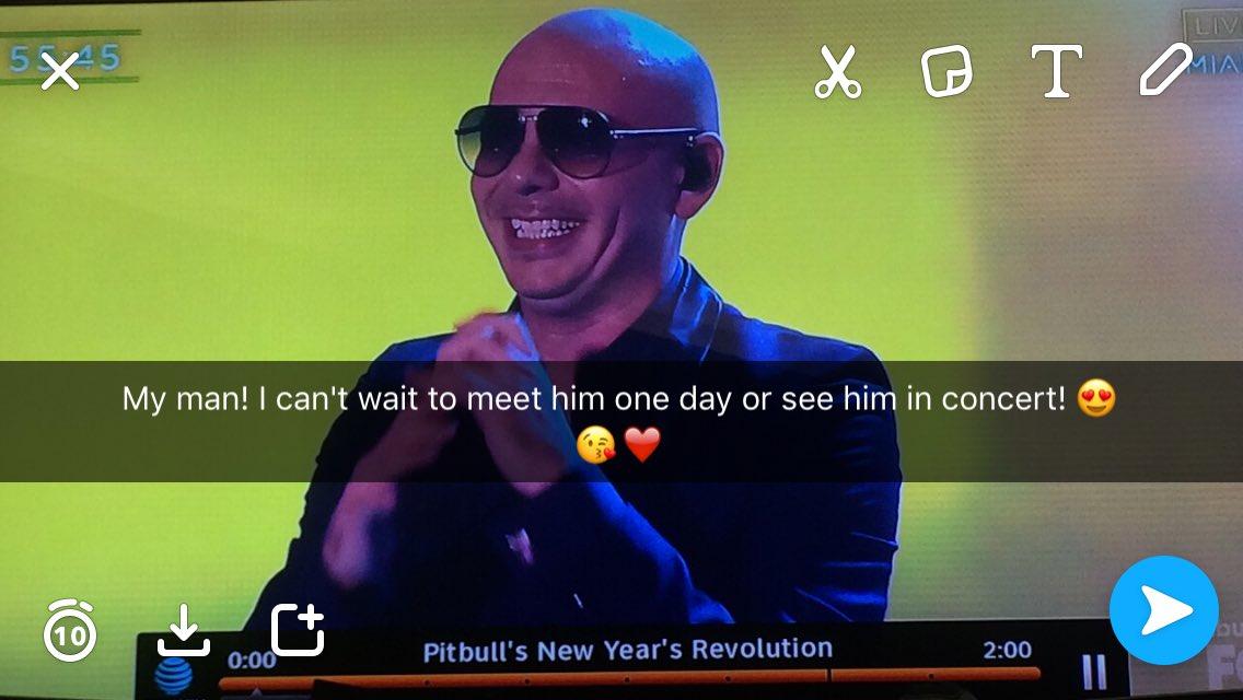 @pitbull omg I love this guy! I wish I can meet him but I really hope to see him in concert!!! 😍😭❤️😘  #pitbullNYE