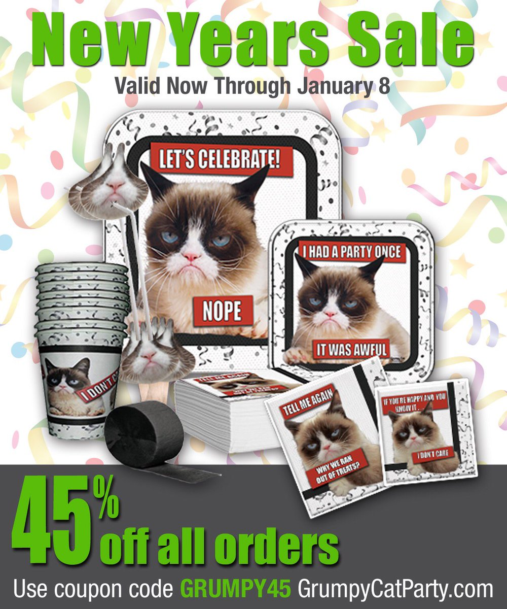 Terrible New Year Sale: 45% Off Grumpy Cat Party Supplies at