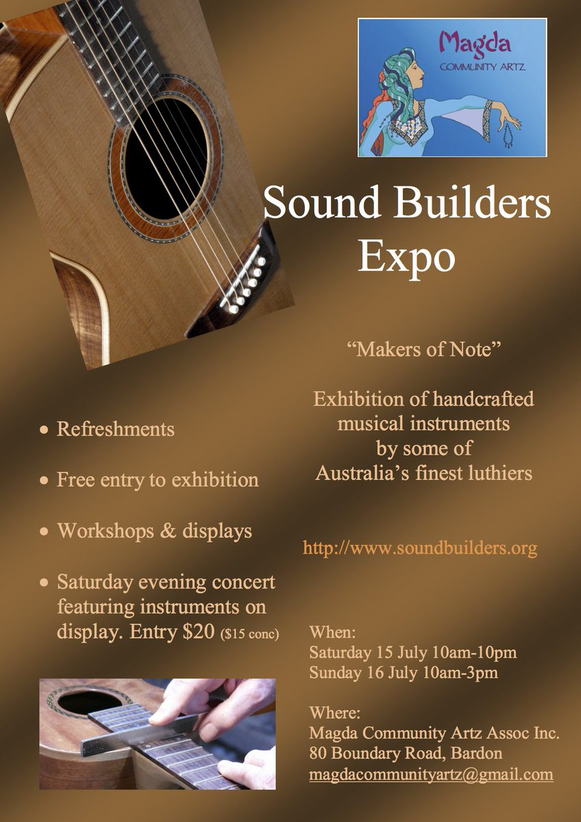 The date is set for Sound Builders Expo in #Brisbane. 15 &amp; 16 July. #Display of #handcrafted #instruments by finest #Australian #luthiers <br>http://pic.twitter.com/1w2WEeePkH