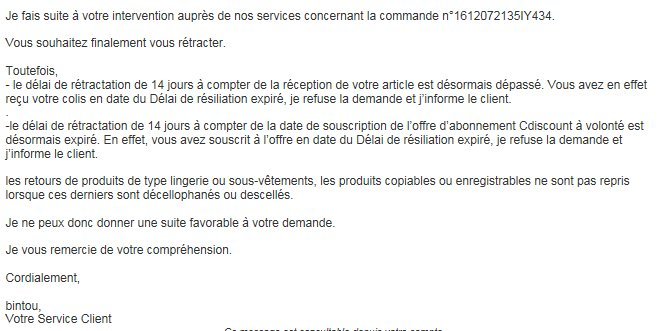 Voici la réponse de @CDISCOUNT lorsque on souhaite se désabonner du mois gratuit #CDAV : #CDAV = #arnaque<br>http://pic.twitter.com/qzqqtFFtVO