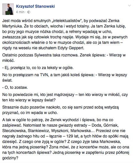 Moje krótkie oświadczenie na temat polskiego pieśniarza Zenona Martyniuka.