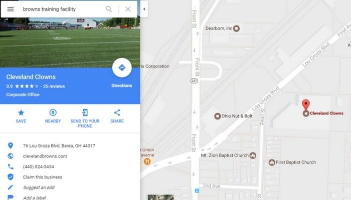renamed Browns training facility Cleveland Clowns Google ...