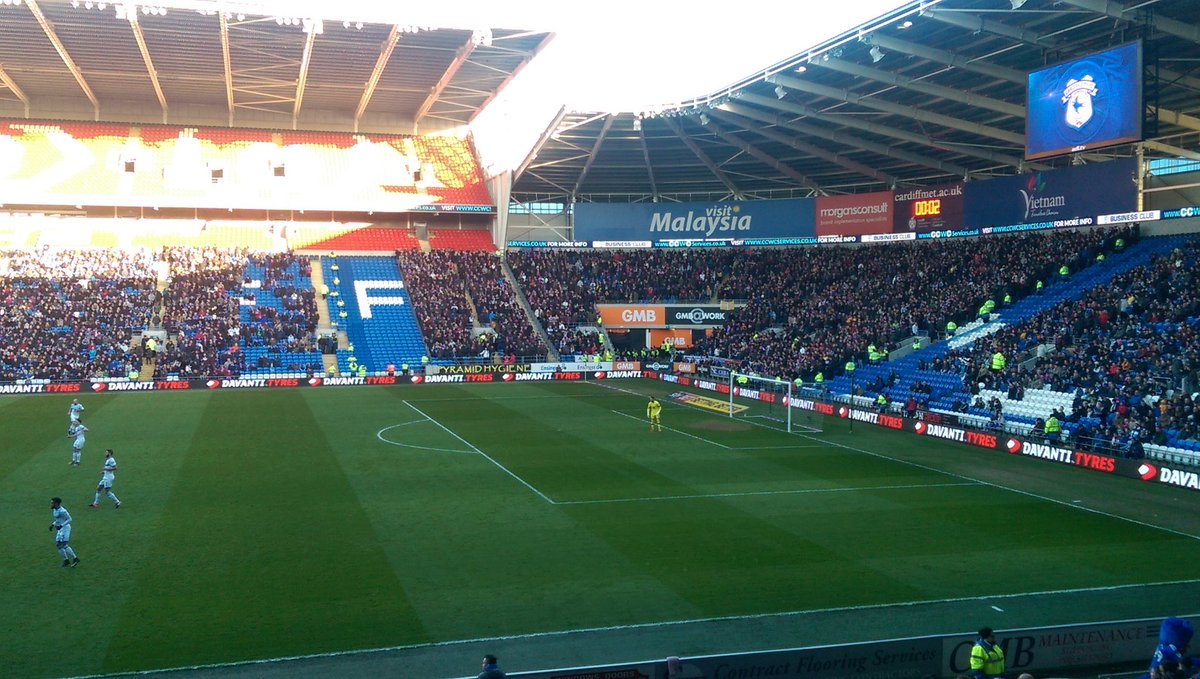Aston Villa have brought what looks like the biggest away following I've seen at Cardiff City Stadium. https://t.co/EYjyz7ju82