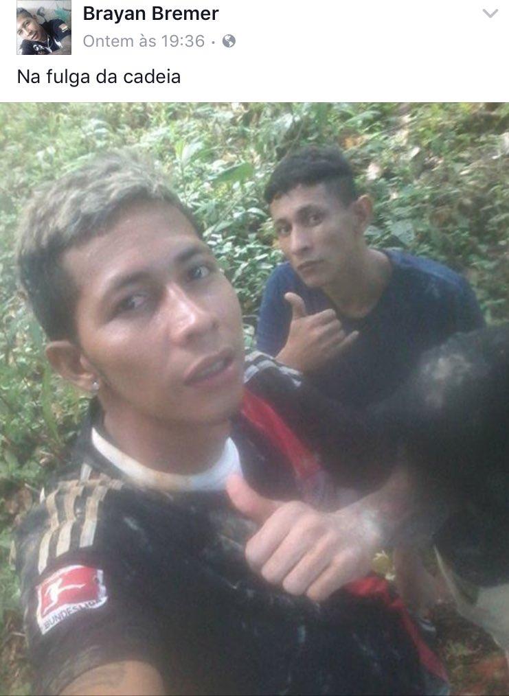 Um dos caras que fugiu da cadeira em Manaus tá postando no Facebook as foto da fuga. VAI BRASIL! https://t.co/LSTntpR0c8