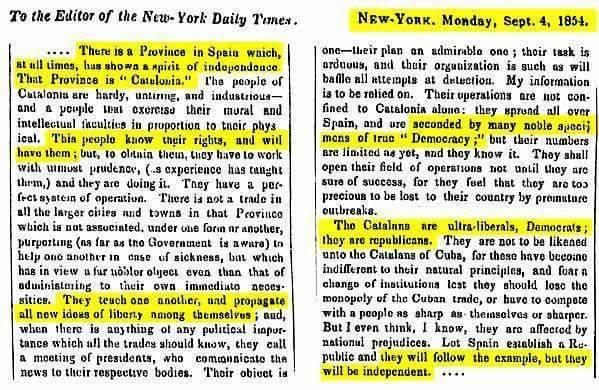 """New York Times sobre Catalunya el 1854: """"Aquest poble coneix els seus drets i els tindrà"""" https://t.co/vV8xkScIE0 https://t.co/wysmOjKVNK"""