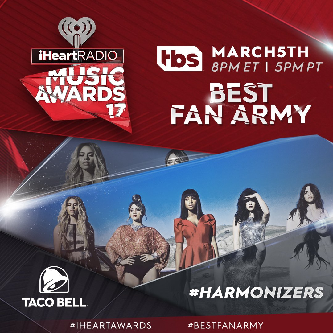 #Harmonizers for Taco Bell #BestFanArmy #iHeartAwards https://t.co/03DCQbBG25