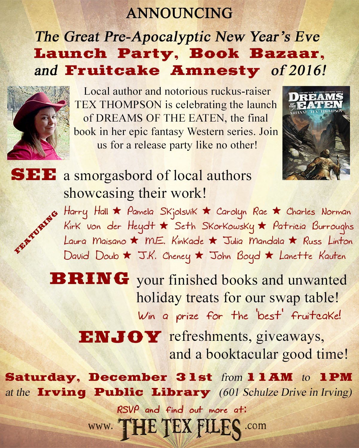 So I set up this thing here: the Great Pre-Apocalyptic New Year's Eve Launch Party, Book Bazaar, and Fruitcake Amnesty of 2016. Sweet, huh? https://t.co/RAQcIMIMgu