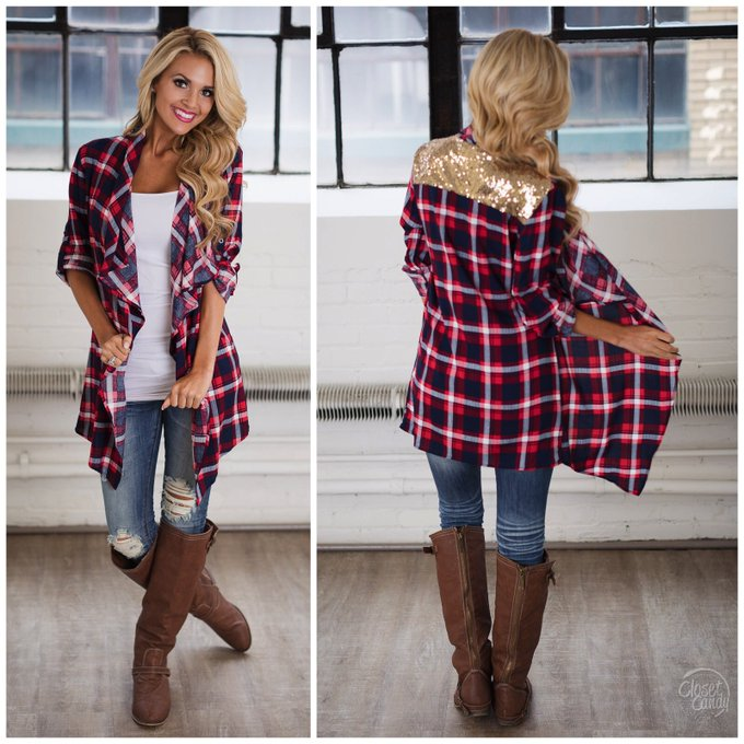 Country Charm Plaid Cardigan