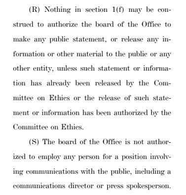 The new Office of Congressional Ethics can't release information to public. Or have a spokesperson. No communication. In any way. Got it?