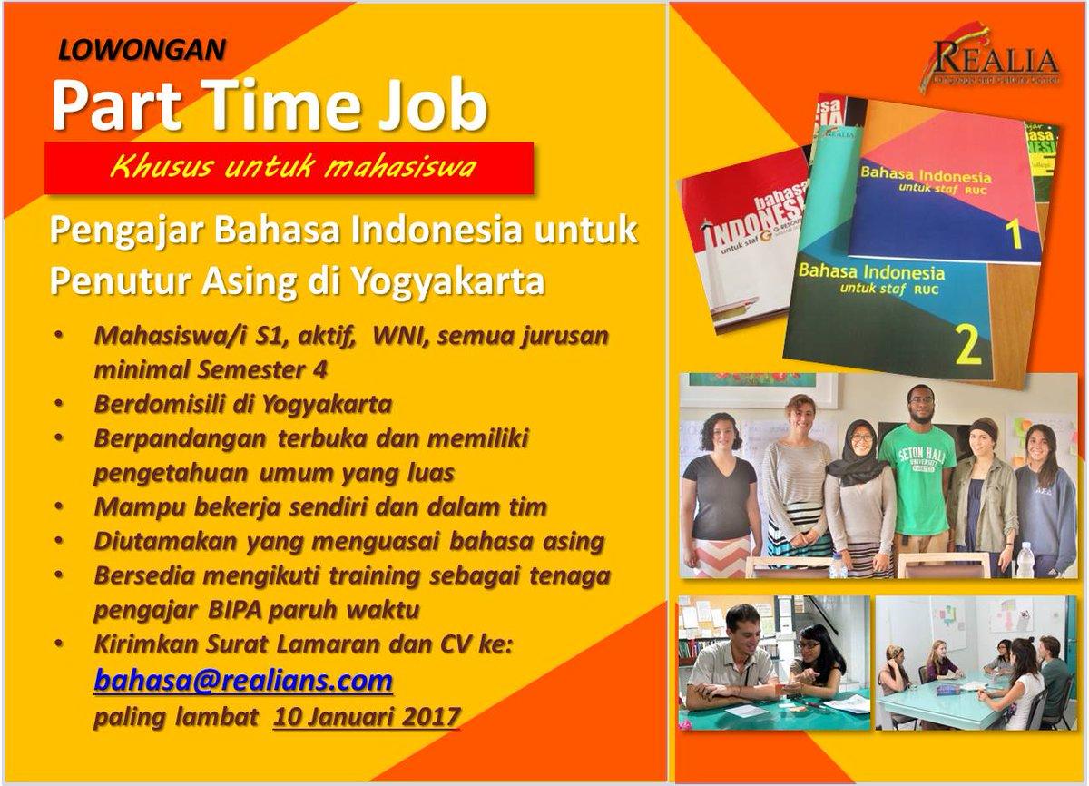 Realia Yogyakarta On Twitter Lowongan Kerja Paruh Waktu Untuk