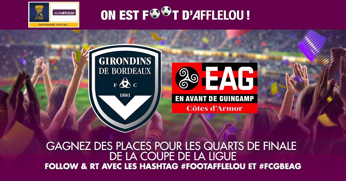 Tentez de gagner vos places pour le match #FCGBEAG des quarts de finale de la @CoupedelaLigue avec un follow &amp; un RT  #FootAfflelou<br>http://pic.twitter.com/IJzsqDmnk8