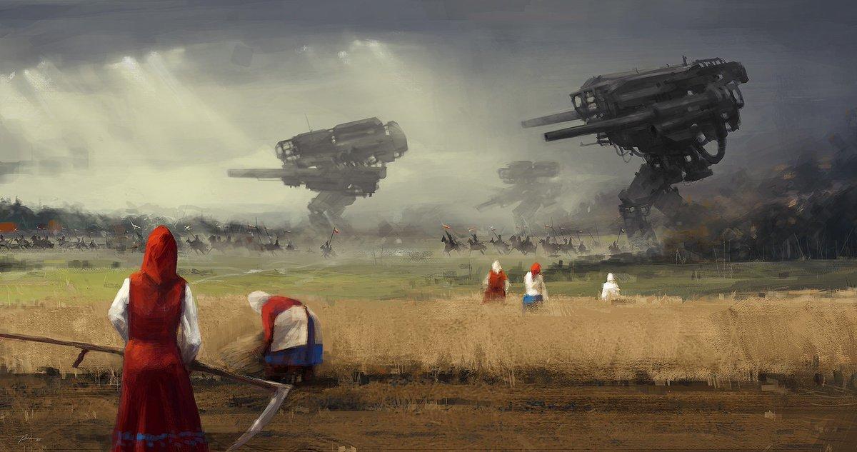さてポーランドのJakub Rozalskiというアーティストの方をご存知でしょうか。 欧州の牧歌的な雰囲気の中に謎の巨大スチームパンク兵器を共存させた幻想的な絵を描かれる方なのですけれども。 https://t.co/oPSprJwBlI