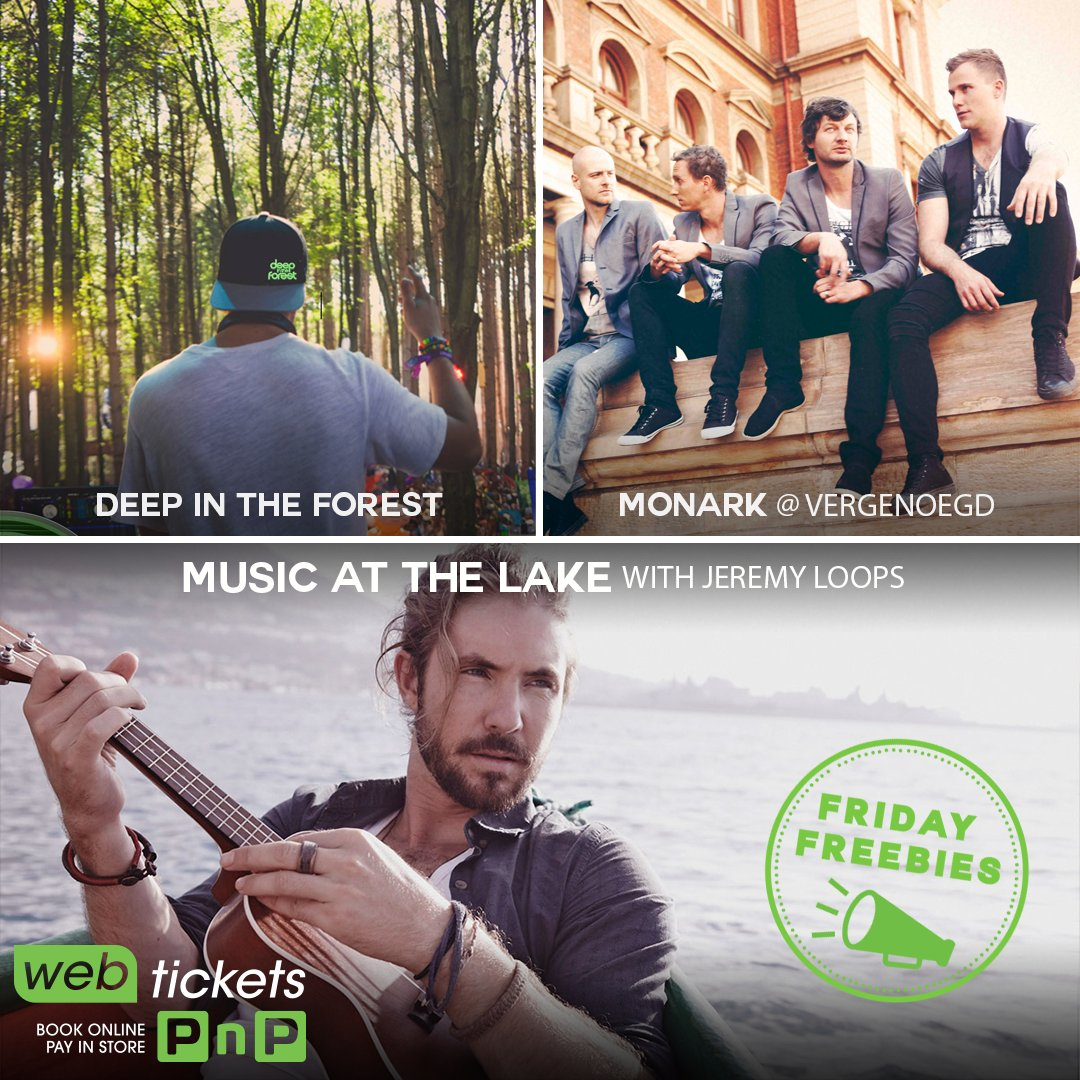 Win with #FridayFreebies to #DeepInTheForest (JHB), @MonarkBand #LiveAtVergenoegd, or @JeremyLoops (DBN)! Enter at https://t.co/3bJMjFZRmn https://t.co/uozW7eFmM7