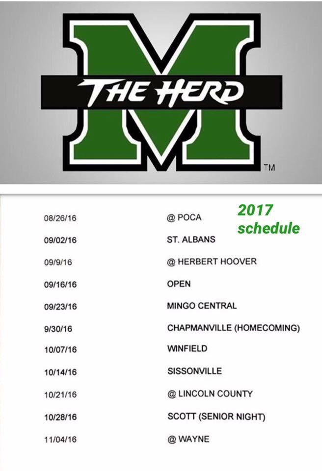 Marshall released their 2017 football schedule. It's a little tougher than last year. https://t.co/twq7AgP2DM