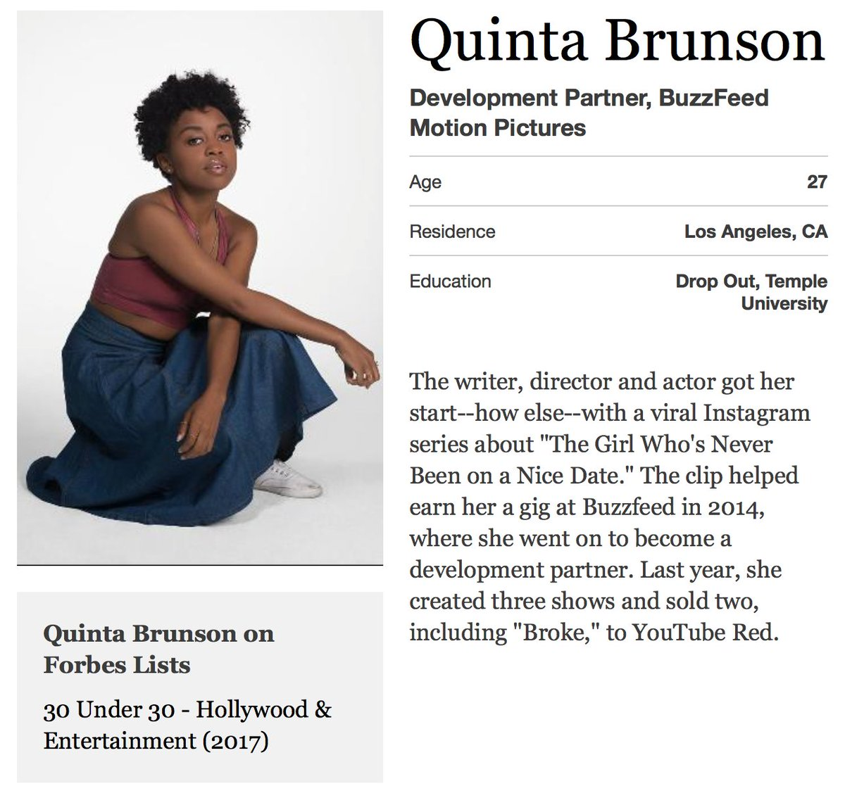 Quinta On Twitter Honored To Be Included On The 2017 Forbes 30