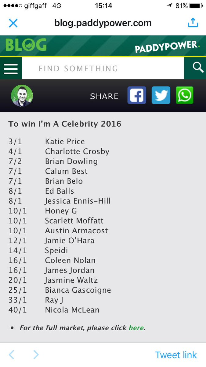 Big brother betting odds paddy power larry bettinger