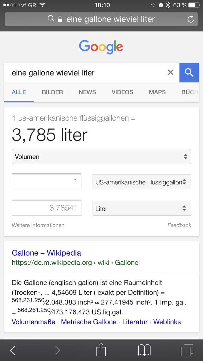 wie viel liter sind 1 gallone