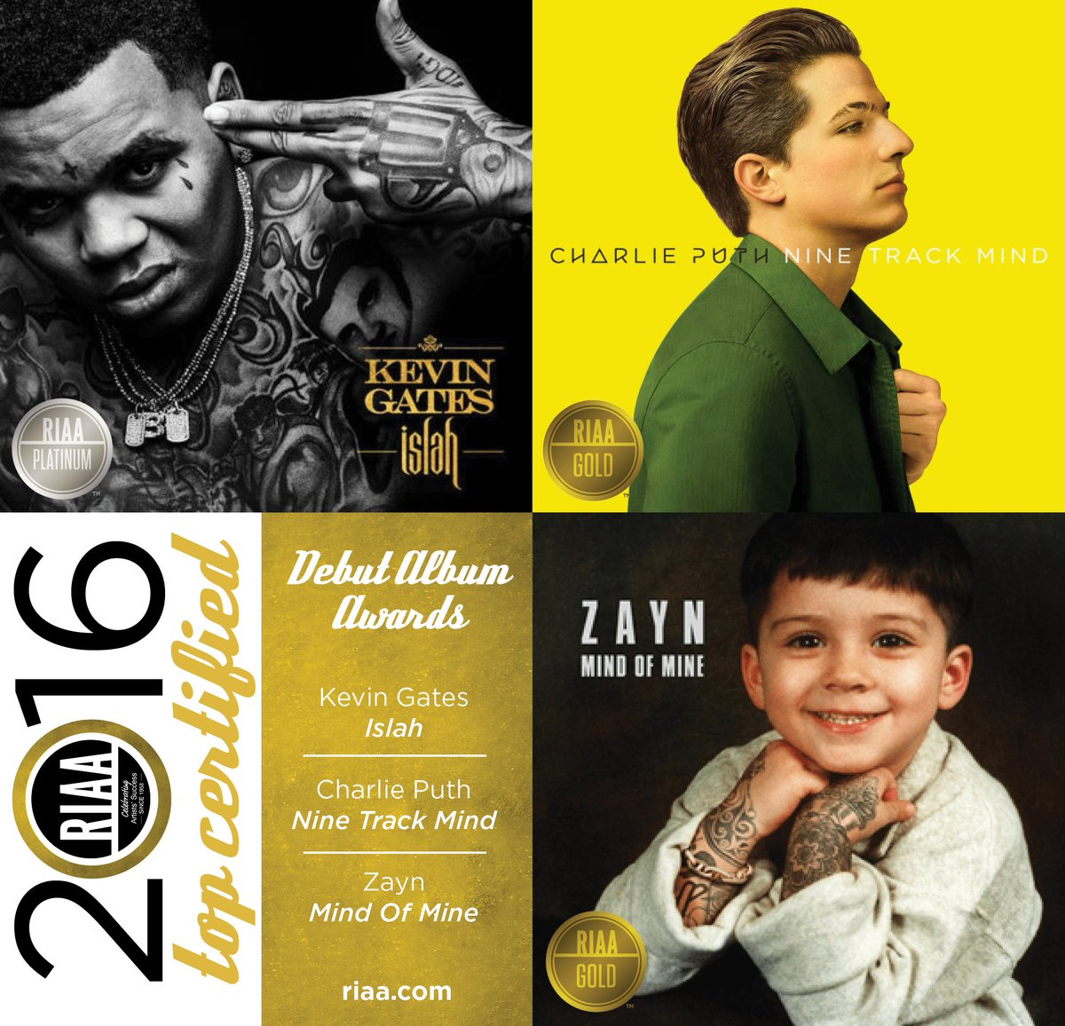 2016's three Debut Album Awards go to @iamkevingates @charlieputh & @zaynmalik! #RIAATopCertified