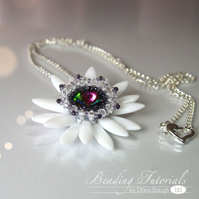 Beading tutorial Fairy's Lily pendant, how to make a beaded flower pendant using Swarovski rivoli and dagger beads