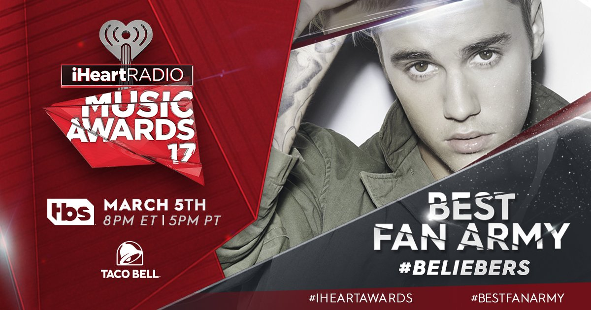 Time for our #Beliebers to get in on the action! RT to vote for #BestFanArmy at our #iHeartAwards for @justinbieber! https://t.co/XokGNHYpiN