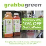Throughout the month of January, all Grabbagreen GrabbaDetox Programs are 10% OFF!  Order Online or On App!  ENTER CODE NEWYEARDETOX