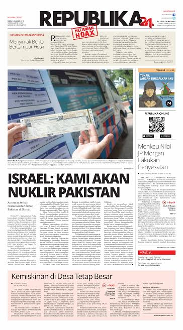 Edisi Koran Republika hari ini. #Milad24REPUBLIKA. Ayo lawan berita Hoax! https://t.co/9Ce701Ej9v