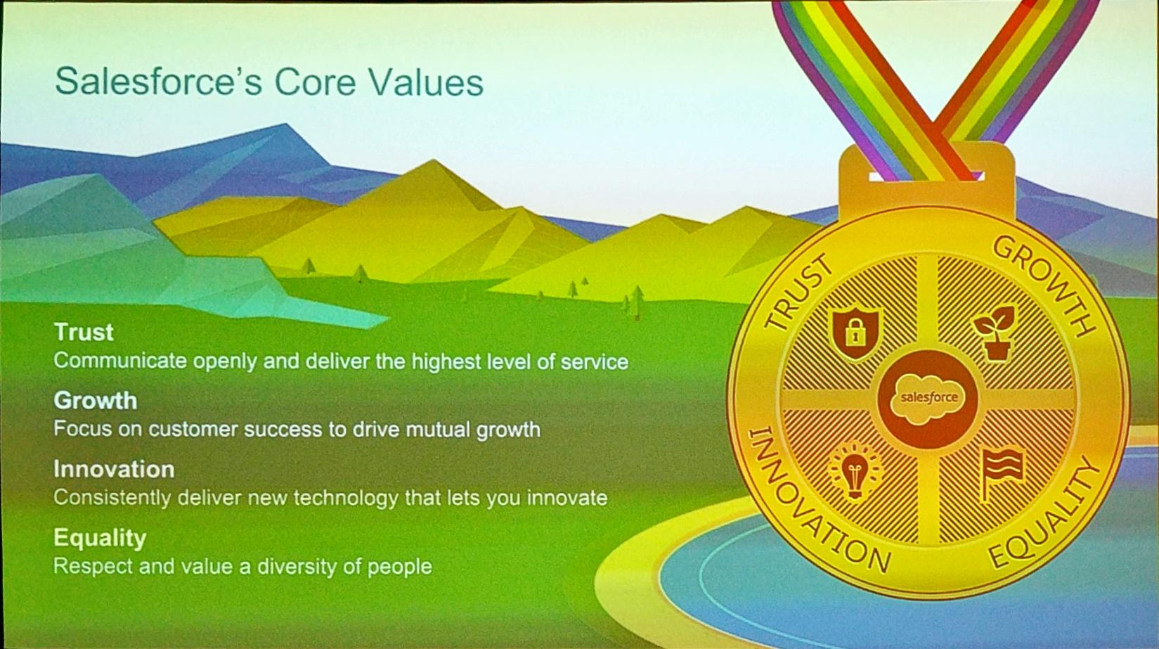 4 core values support @Salesforce #Ohana - Trust  - Growth - Innovation - Equality  #SalesforceAR https://t.co/oalS4eqCMd