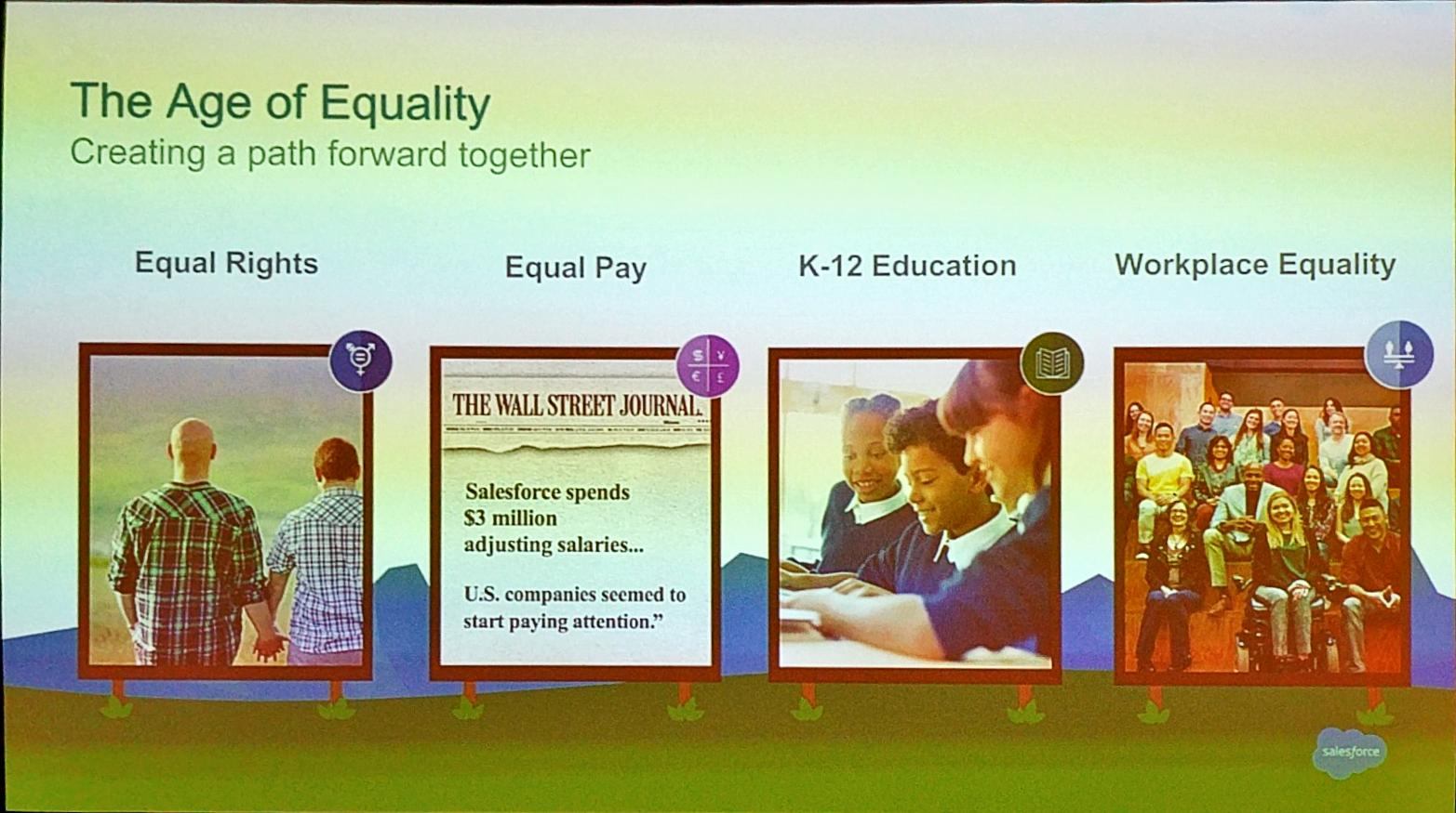4 pillars to propel the Age of Equality @salesforce  - Equal rights - Equal pay - K-12 Education  - Workplace Equality  #SalesforceAR https://t.co/VpHIH66z3Y