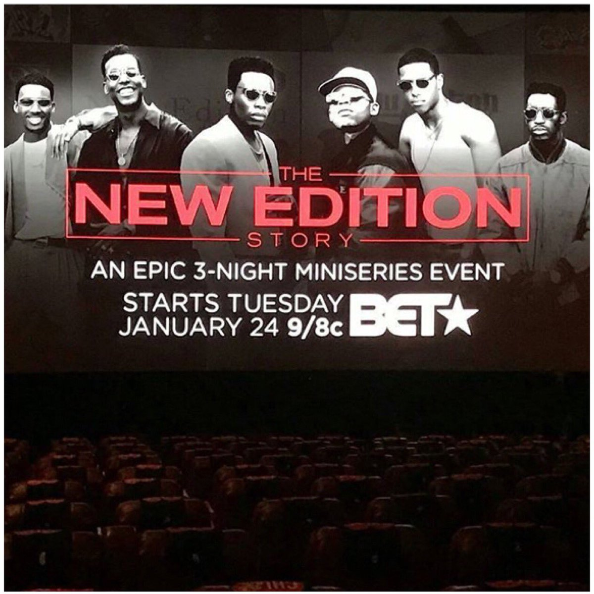 "It's going down NOW the 1st full screening of ""THE NEW EDITION STORY"" out here in the CHI w/ @NewEditionBET https://t.co/upTSRN5WSE"