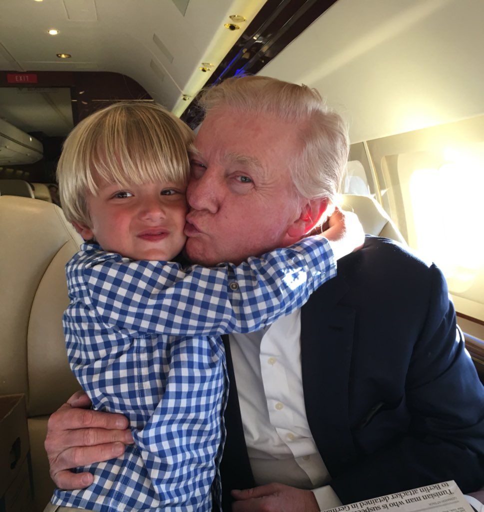 Grandpa @realdonaldtrump and Tristan aka T-man on the ride back from #florida this past Sunday #Christmas #vacation