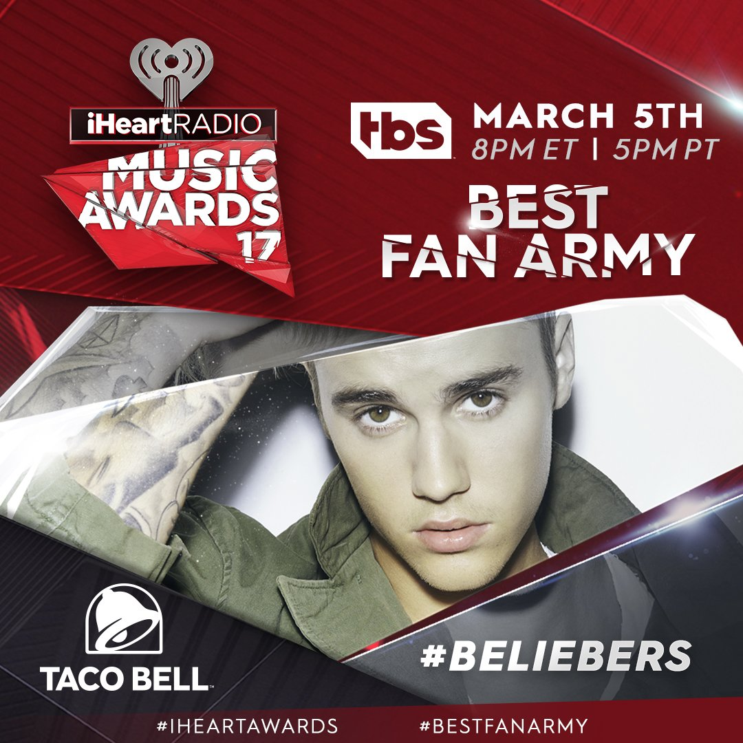 Are you guys the best company?🏆 Welcome back to the big stage @JBCrewdotcom & the .   #Beliebers@tacobell#BestFanArmy#iHeartAwards
