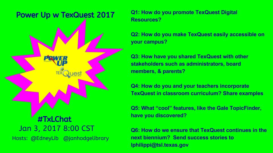 Only 20 min away from Power Up With #TexQuest @TSLAC Join us for #txlchat at 8C @EdneyLib @janhodgelibrary https://t.co/yddawIfWjU