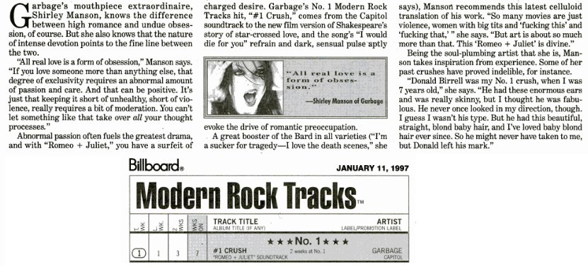 On Jan 4th 1997 1crush Hit 1 The Billboard Modern Rock Chart In Usa Stayed There For 4 Weeks Garbage
