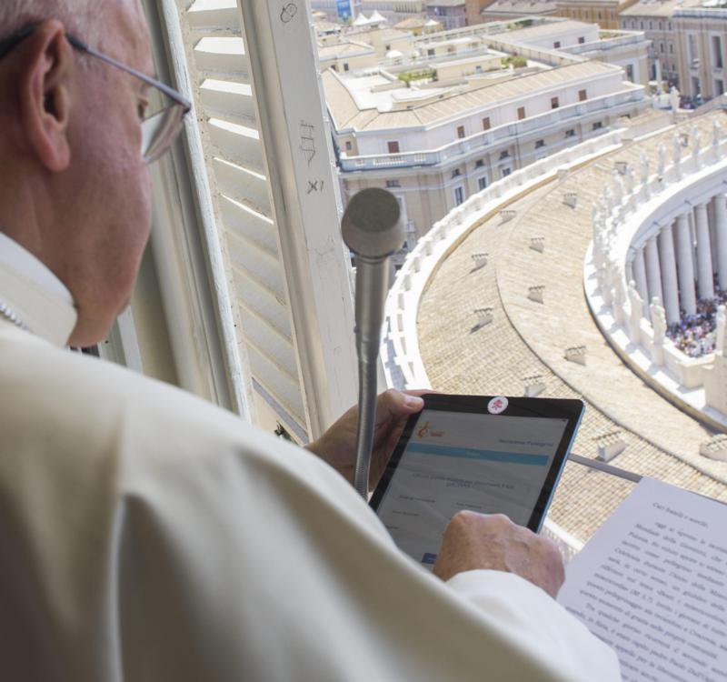 Sticker on the front-facing camera of the iPad.  Pope Francis' opsec: