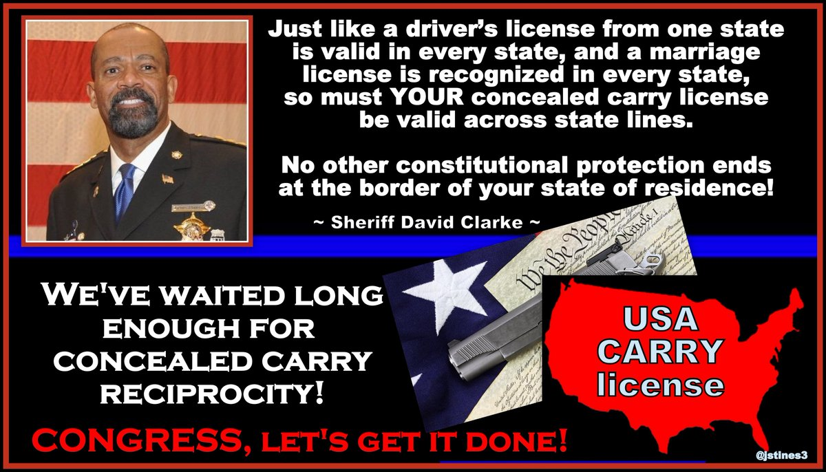 It&#39;s time for Congress to enact CONCEALED CARRY RECIPROCITY!   @SheriffClarke #PJNET #NRA #2A<br>http://pic.twitter.com/H812XQHni4