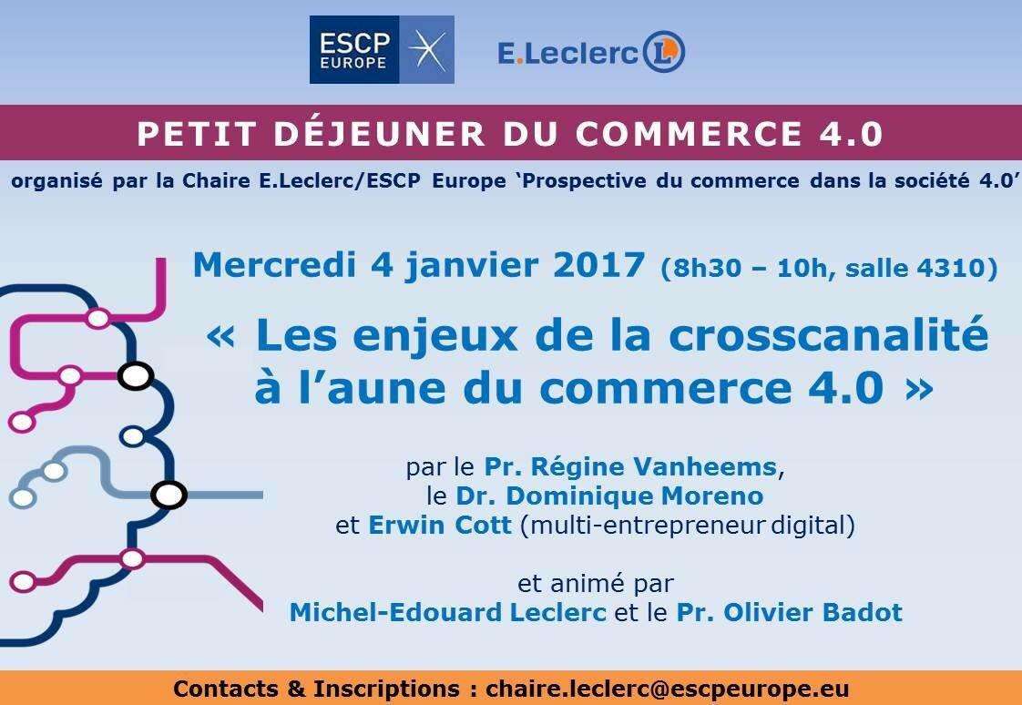 """Thumbnail for """"Les enjeux de la cross-canalité à l'aune du commerce 4.0. """" (2nd petit déjeuner de la Chaire E.Leclerc / ESCP Europe)"""