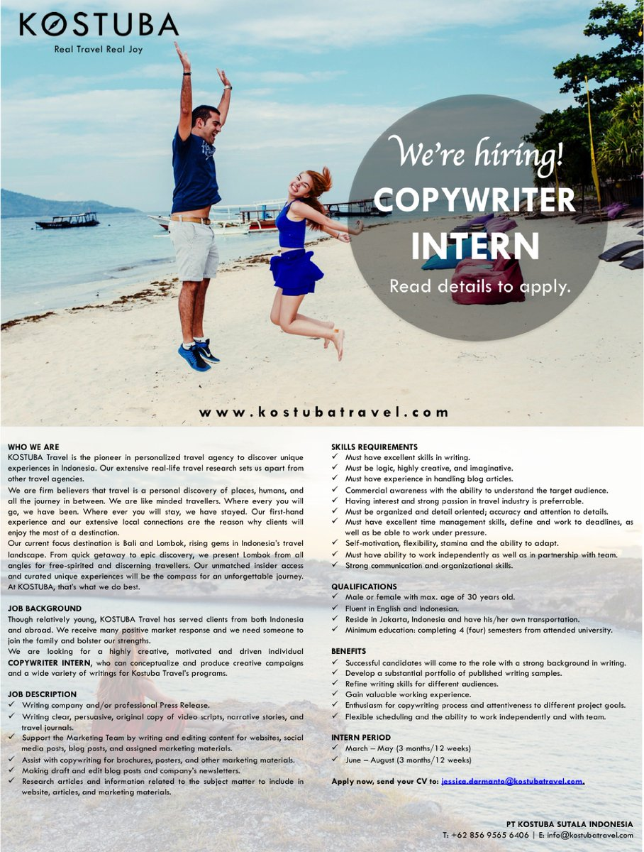 kostuba travel kostubatravel twitter love to write confident your writing skills we re hiring copywriter intern send your cv to jessica darmanto kostubatravel com pic com
