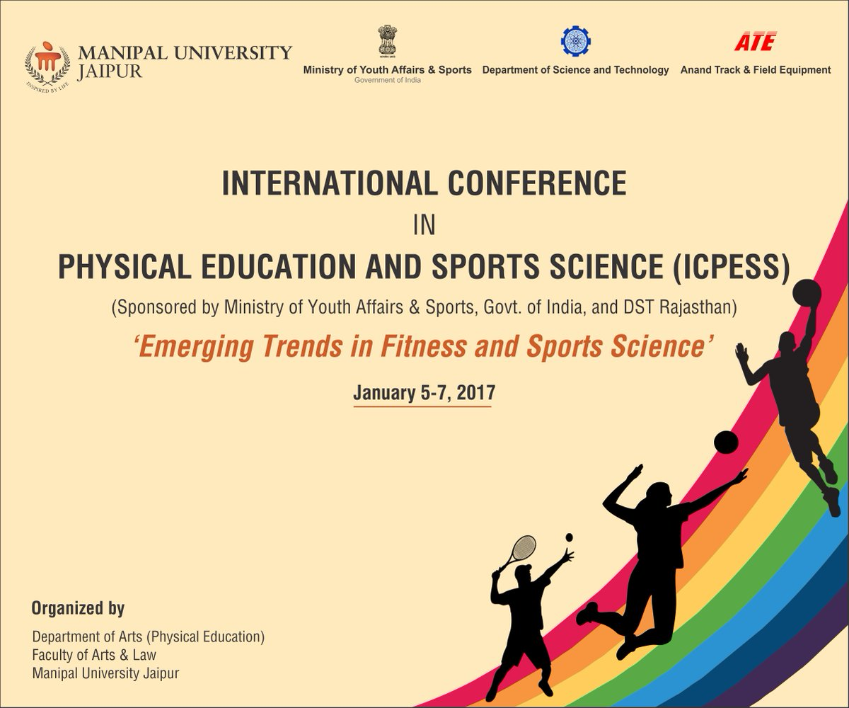 """#International #Conference on Physical Education &amp; Sports Science at #muj from Jan.5-7.Theme""""Emerging Trends in Fitness and Sports Science&quot;. <br>http://pic.twitter.com/Nnu8fWY2ni"""