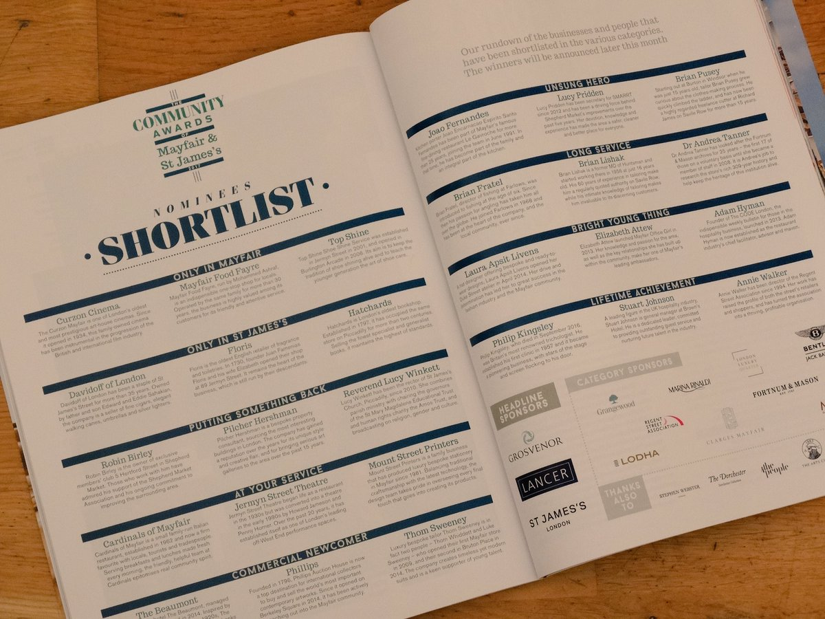 Absolutely thrilled to be shortlisted for Bright Young Thing @MayfairTimes #communityawards - alongside @lauralivens @AdamMHyman -Thank-you! https://t.co/AUoznk46GB