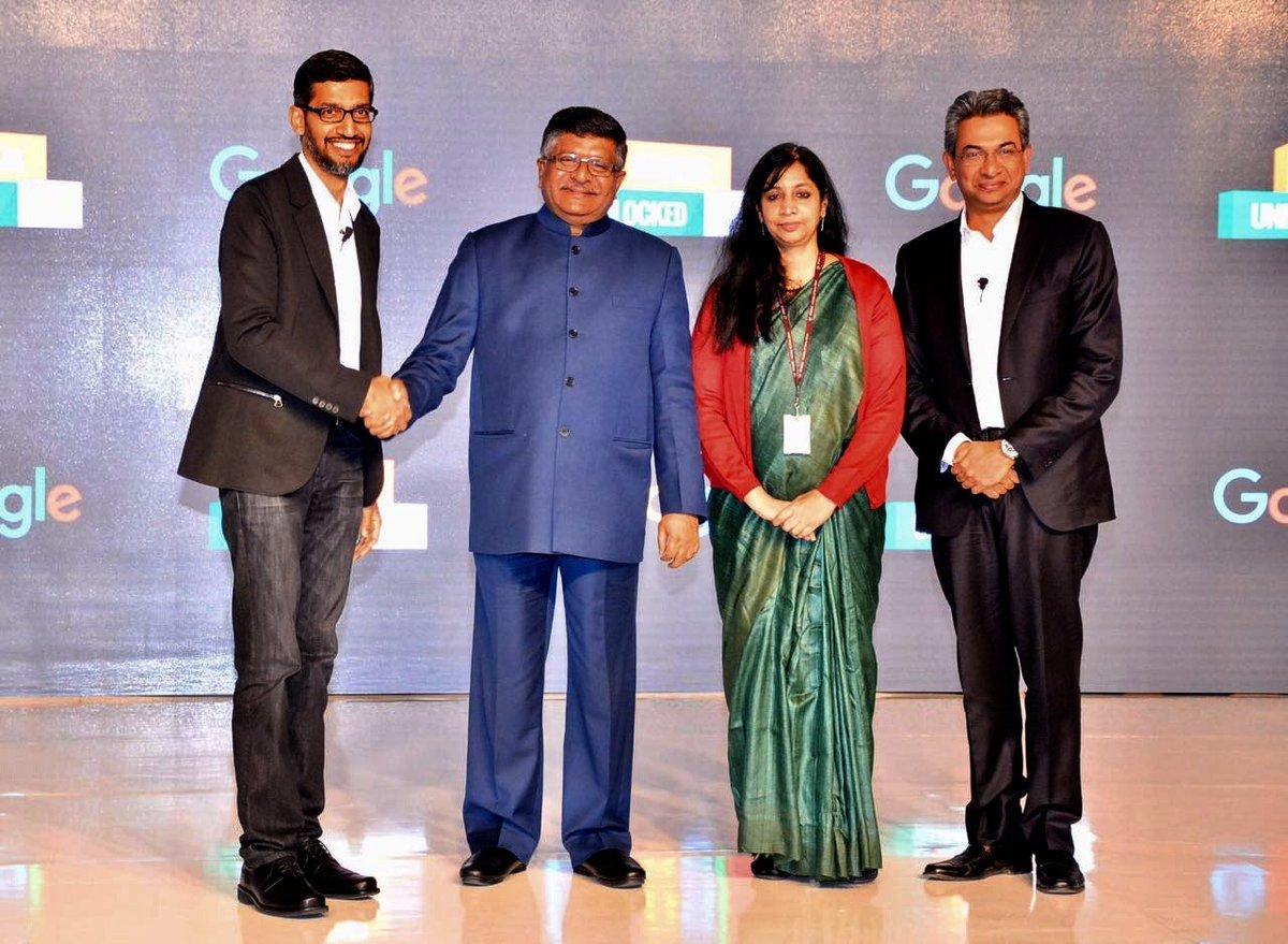 Image result for ravi shankar prasad and CEO sundar pichai