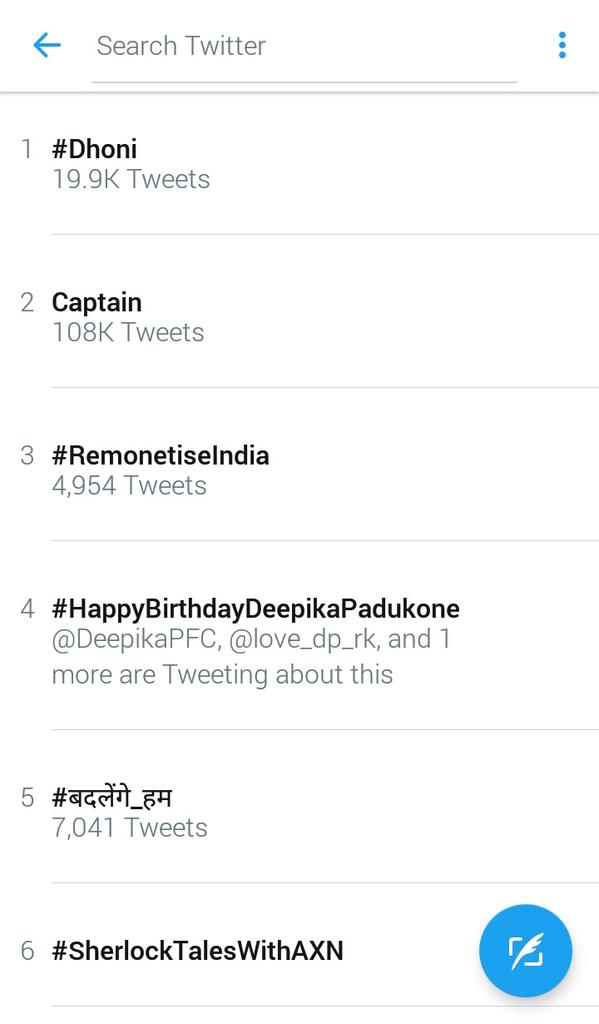 Wow! 😘😘 #HappyBirthdayDeepikaPadukone is trending on 4th position.🎉🎉🎉