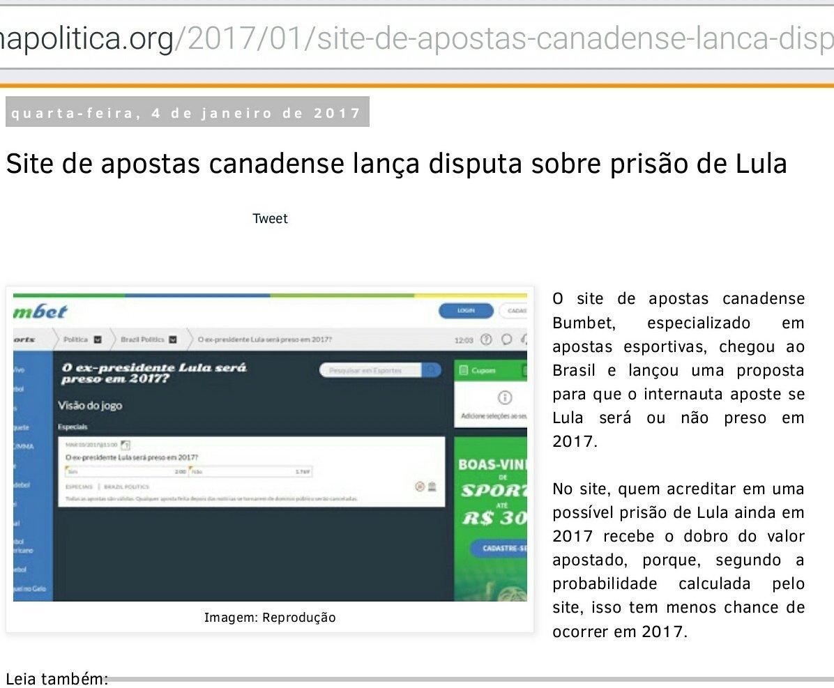 Site do Canadá permite aposta em prisão ou não de Lula em 2017