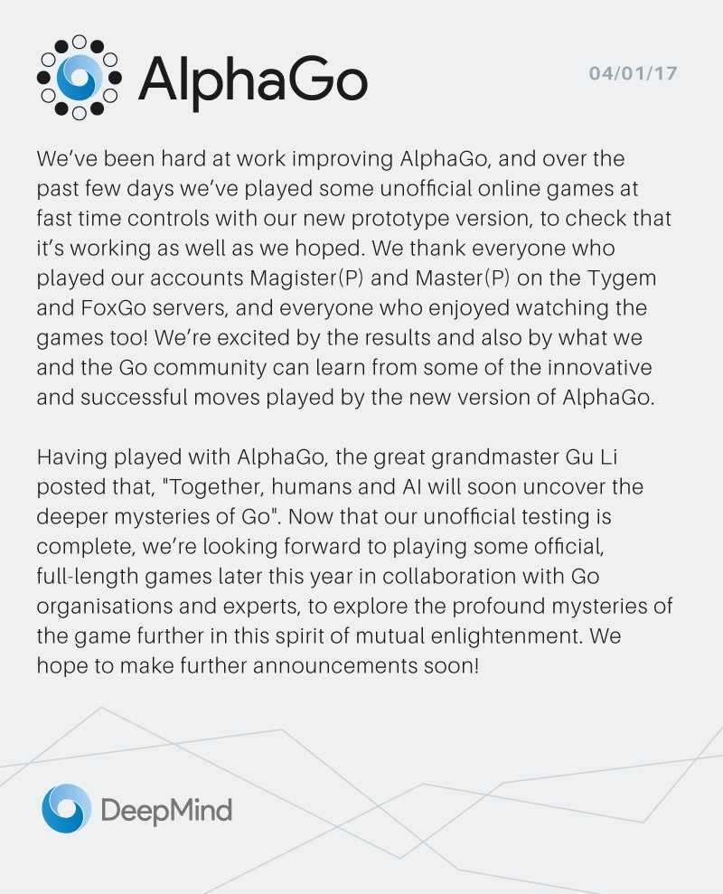 AlphaGo is revealed via Twitter as mystery Go player.
