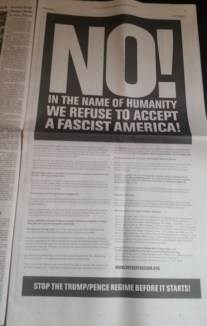 Page seven of the New York Times is looking righteous. #NOTMYPRESIDENT #Resist  #NOFASCISTUSA #theresistance https://t.co/NIUTfhbbqu