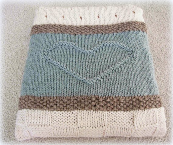 Knit Blanket Pattern, Knit Throw Pattern, Knit Heart Blanket