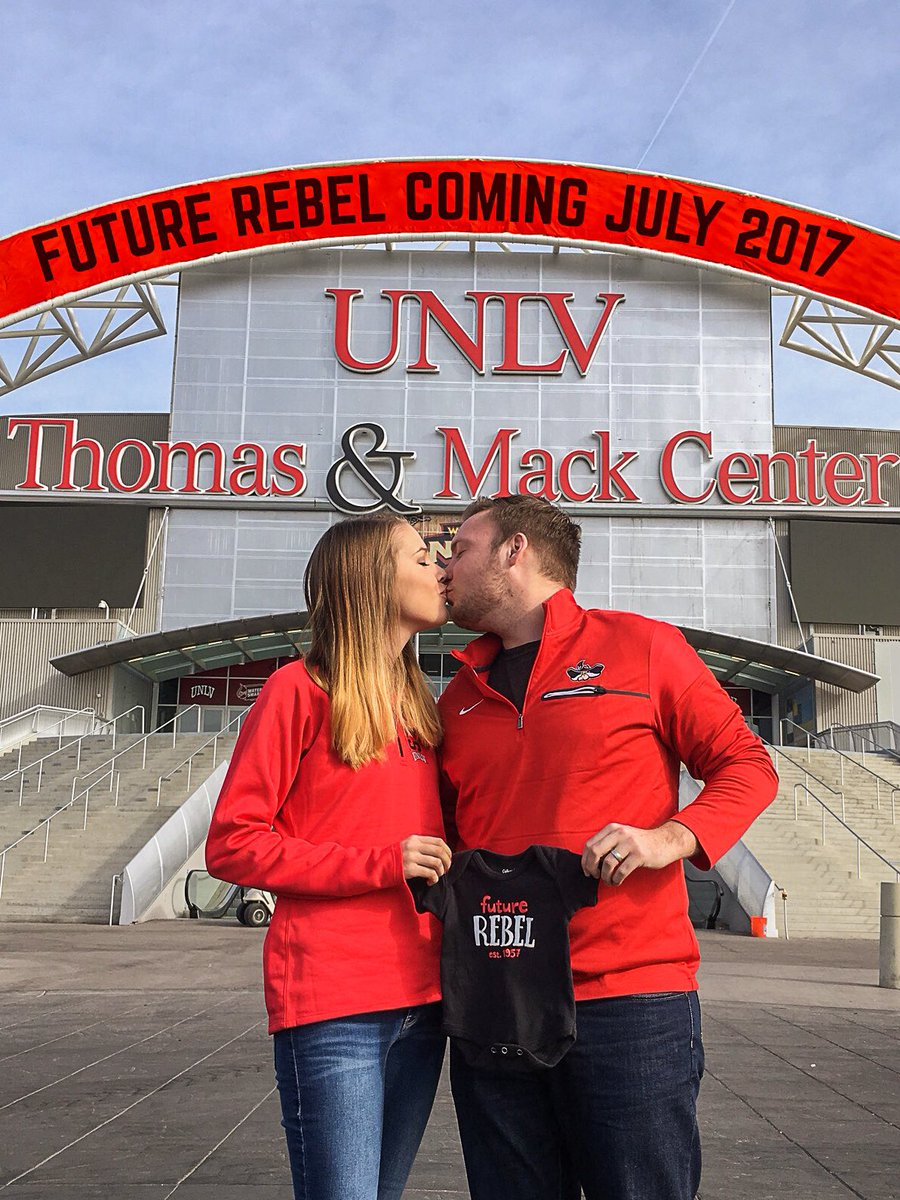 It's official #RebelFamily @andrea_leger2 and I will be expecting our first child July 10th! #UNLV https://t.co/q8b0pSwSbF