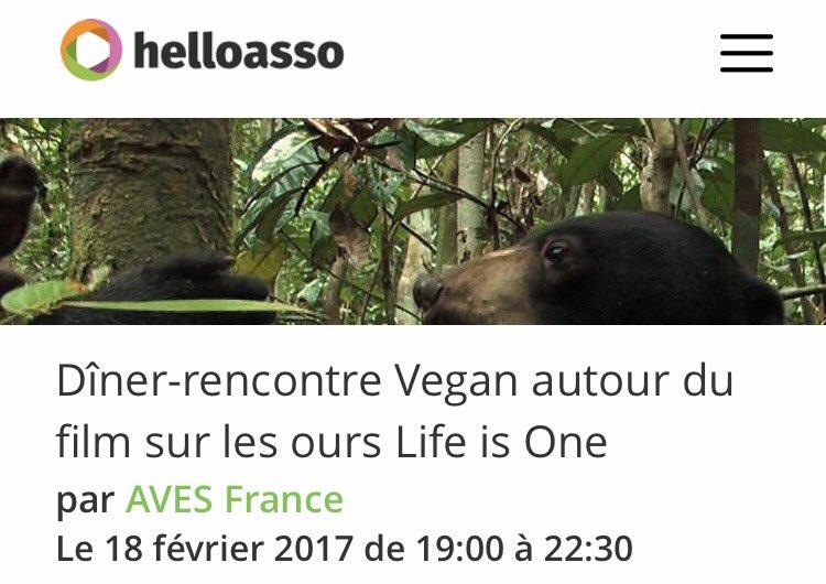 Nous avons besoin de 4 réservations de plus cette semaine pour maintenir l&#39;événement. Pour réserver :  https://www. helloasso.com/associations/a ves-france/evenements/diner-rencontre-vegan-autour-du-film-sur-les-ours-life-is-one &nbsp; …  #ours #vegan<br>http://pic.twitter.com/6IUCBPEeLu