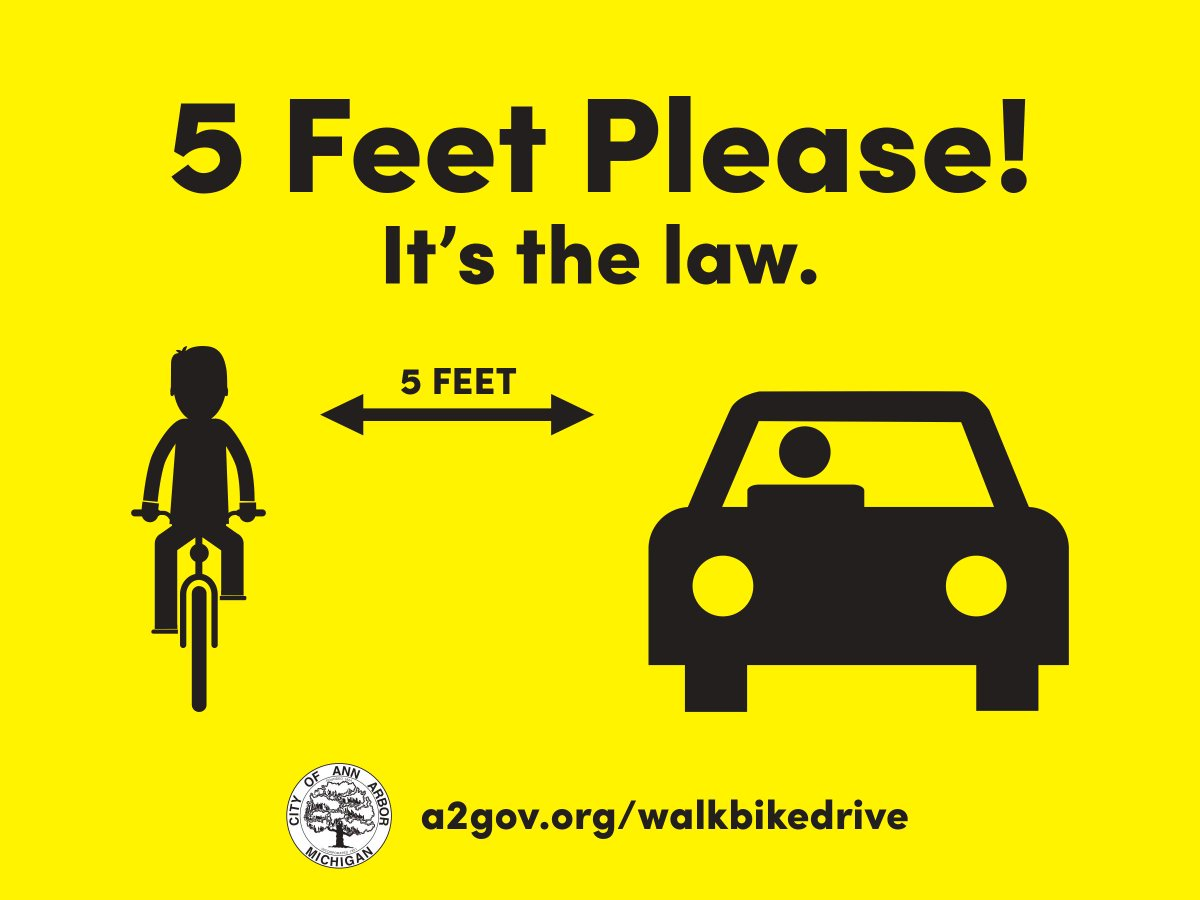 5 feet please! Ann Arbor's safe passing ordinance goes into effect Sat. Jan. 7, 2017 https://t.co/bKcqjB9BeH https://t.co/ICdwETyyKX