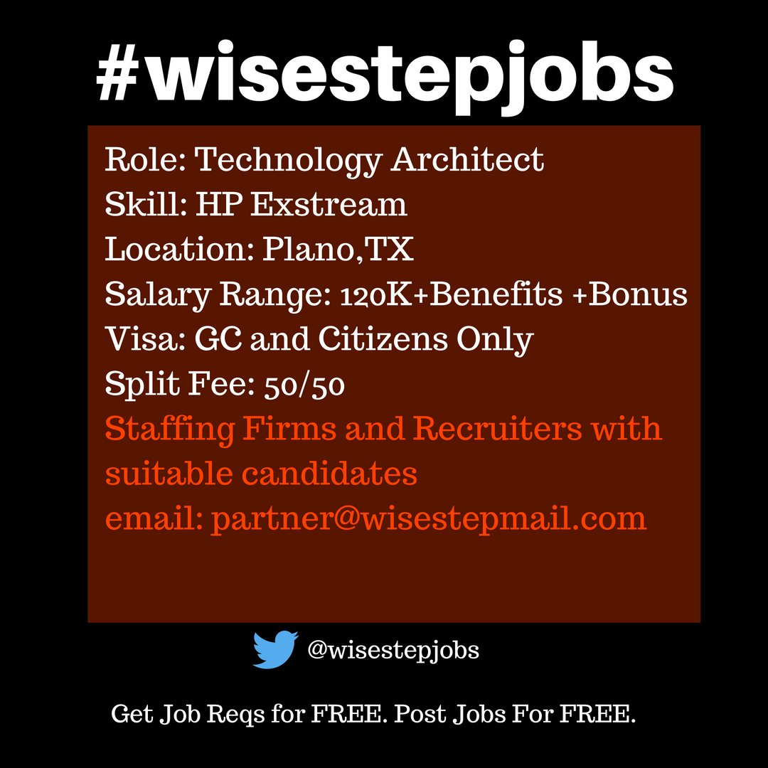 anu mahajan anum twitter hot us it job requirement need suitable candidates asap become our recruiter partner wisestep com crowdsourcing wisestepjobs tech
