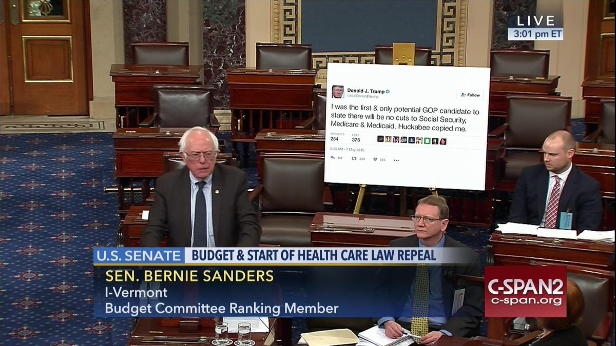 Bernie just printed out a gigantic Trump tweet and brought it to the Senate floor https://t.co/kl9QbohqGO